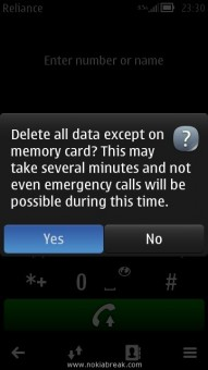 Hard Reset Confirm Nokia