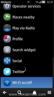 Wi-Fi on off widget