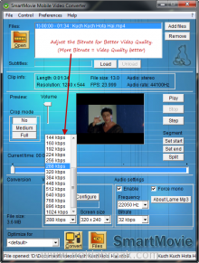 Adjust Bitrate in SmartMovie Converter